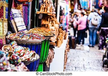 Mercado tradicional en Jerusalén, Israel.