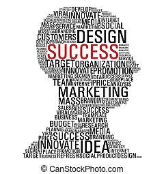 mercadotecnia, cabeza, éxito, comunicación