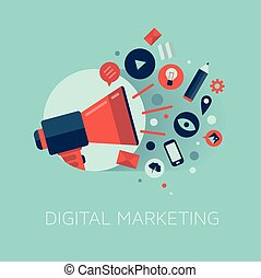 mercadotecnia, concepto, ilustración, digital