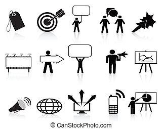 mercadotecnia, conjunto, negro, iconos