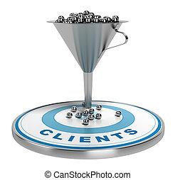 mercadotecnia, conversión, o, embudo, ventas