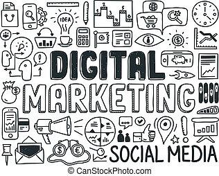 mercadotecnia, elementos, conjunto, digital, garabato
