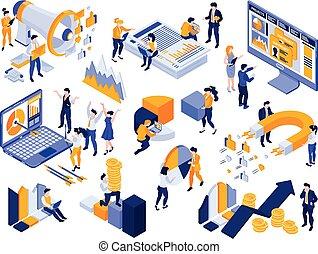 mercadotecnia, estrategia, conjunto, icono