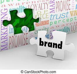 mercadotecnia, marca, rompecabezas, estrategia, respuesta, pedazo, completado