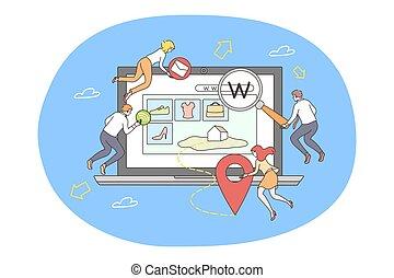 mercadotecnia, medios, sitio web, programación, concepto, social