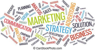 mercadotecnia, palabra, empresa / negocio, nube, estrategia