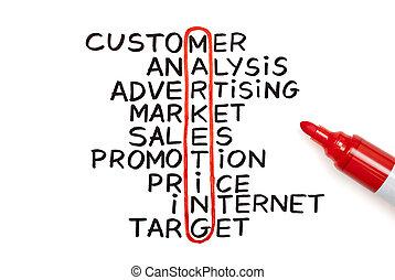 mercadotecnia, rojo, gráfico, marcador