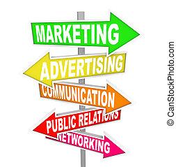 mercadotecnia, señales, publicidad, flecha, comunicación