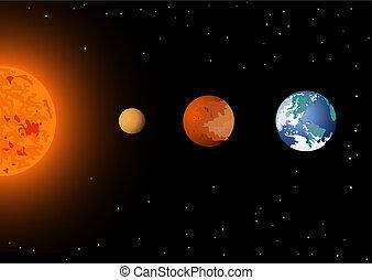 mercurio, venus, y, sol, tierra