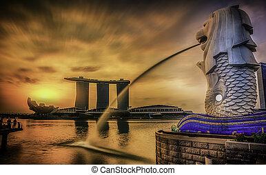 merlion, singapur, señal