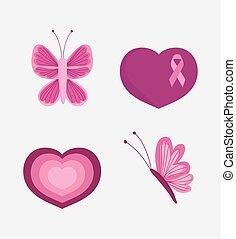 mes, corazón, amor, conocimiento del pecho, mariposa, cinta rosa, iconos, cáncer
