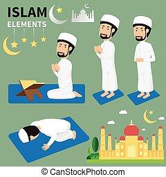 Mes de Ramadán para musulmanes y musulmanes haciendo rituales religiosos. Las tradiciones del Islam. Ilustración plana.