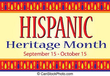 mes, herencia, hispano, bandera