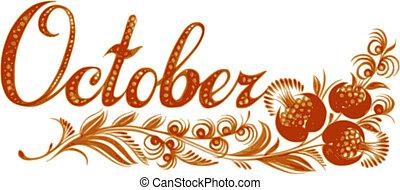 mes, octubre, nombre