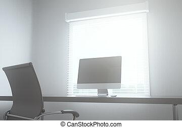 Mesa con computadora en la sala de juntas