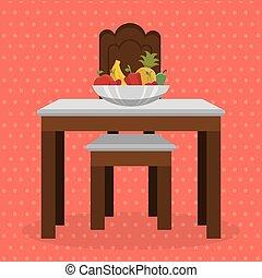 Mesa con frutas en la escena del comedor