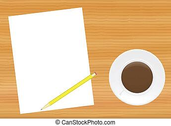 Mesa con página y taza de café