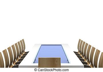 Mesa de conferencias con sillas