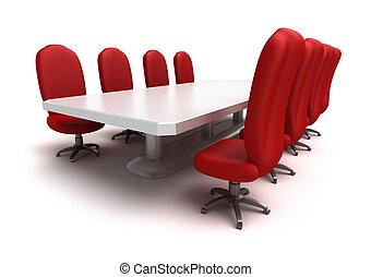 Mesa de conferencias y sillas rojas