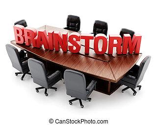 Mesa de la sala de juntas con texto de lluvia de ideas rojas
