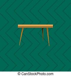 Mesa de madera en la sala de estar icono plano