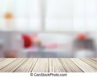 Mesa de madera sobre la escena de la cocina borrosa