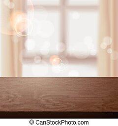 Mesa de madera sobre la escena interior borrosa