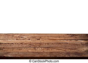 Mesa de madera vacía en fondo blanco