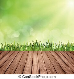 Mesa de madera y hierba sobre un fondo borroso abstracto
