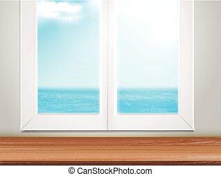Mesa de madera y ventana con océano borroso