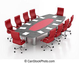 Mesa de reunión roja y negra