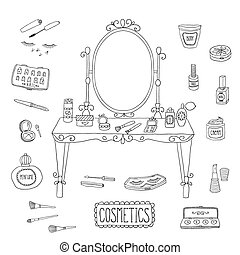 Mesa de vanidad con espejo y maquillaje.