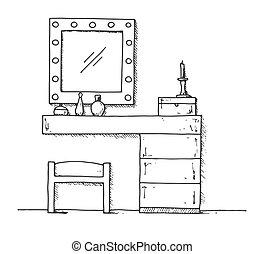 Mesa de vestir al estilo boceto. La ilustración del vector se dibuja a mano.