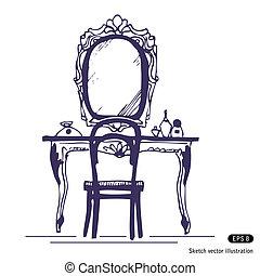 Mesa de vestir y espejo