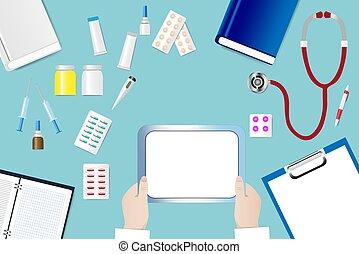 Mesa médica con las manos del doctor sosteniendo una tableta en blanco