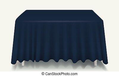 Mesa rectangular con mantel aislado.