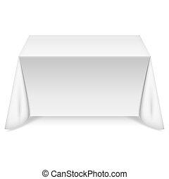 Mesa rectangular con mantel blanco