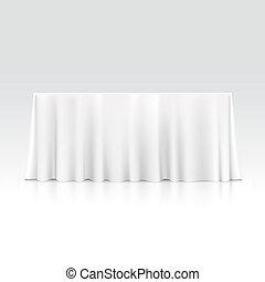 Mesa rectangular vacía con mantel