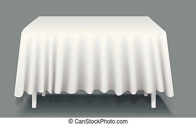 Mesa rectangular vacía Vector con mantel aislado.