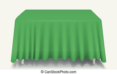 Mesa rectangular verde vector con mantel aislado.