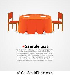 Mesa redonda con mantel y dos sillas