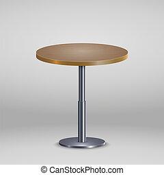 Mesa redonda con placa de madera