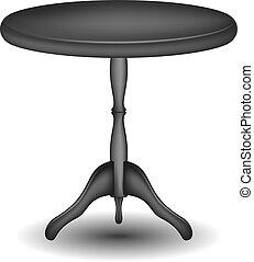 Mesa redonda de madera en diseño negro