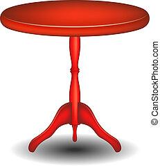 Mesa redonda de madera en diseño rojo