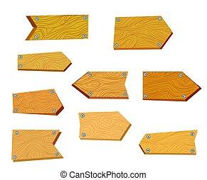 Mesas de madera para las carteleras