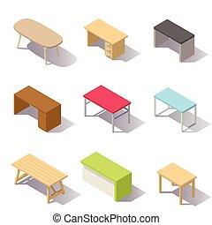 Mesas de oficinas isometricas Vector