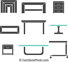 Mesas modernas puestas