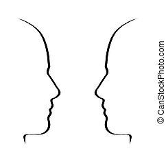 metáfora, concepto, conversación, blanco, -, hablar, negro, caras