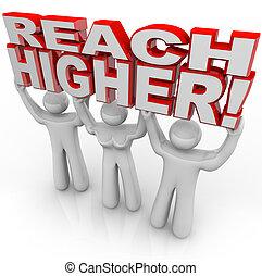 meta, gente, alcance, elevación, palabras, lograr, más alto