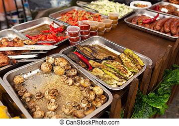 metal, bandejas, asado parrilla, comida., contener, comida de calle, fiesta, equipo, cocina, mostrador